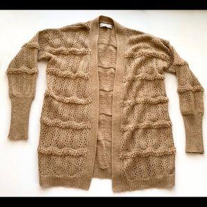 Knox Rose Open Cardigan Sweater Tan S Ruffle